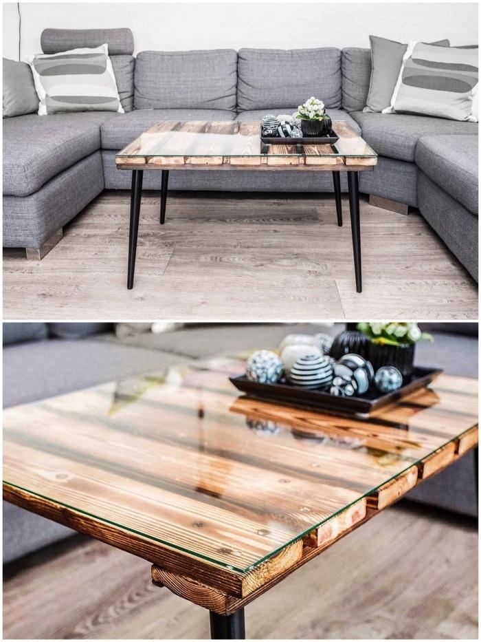 table basse en bois et en verre